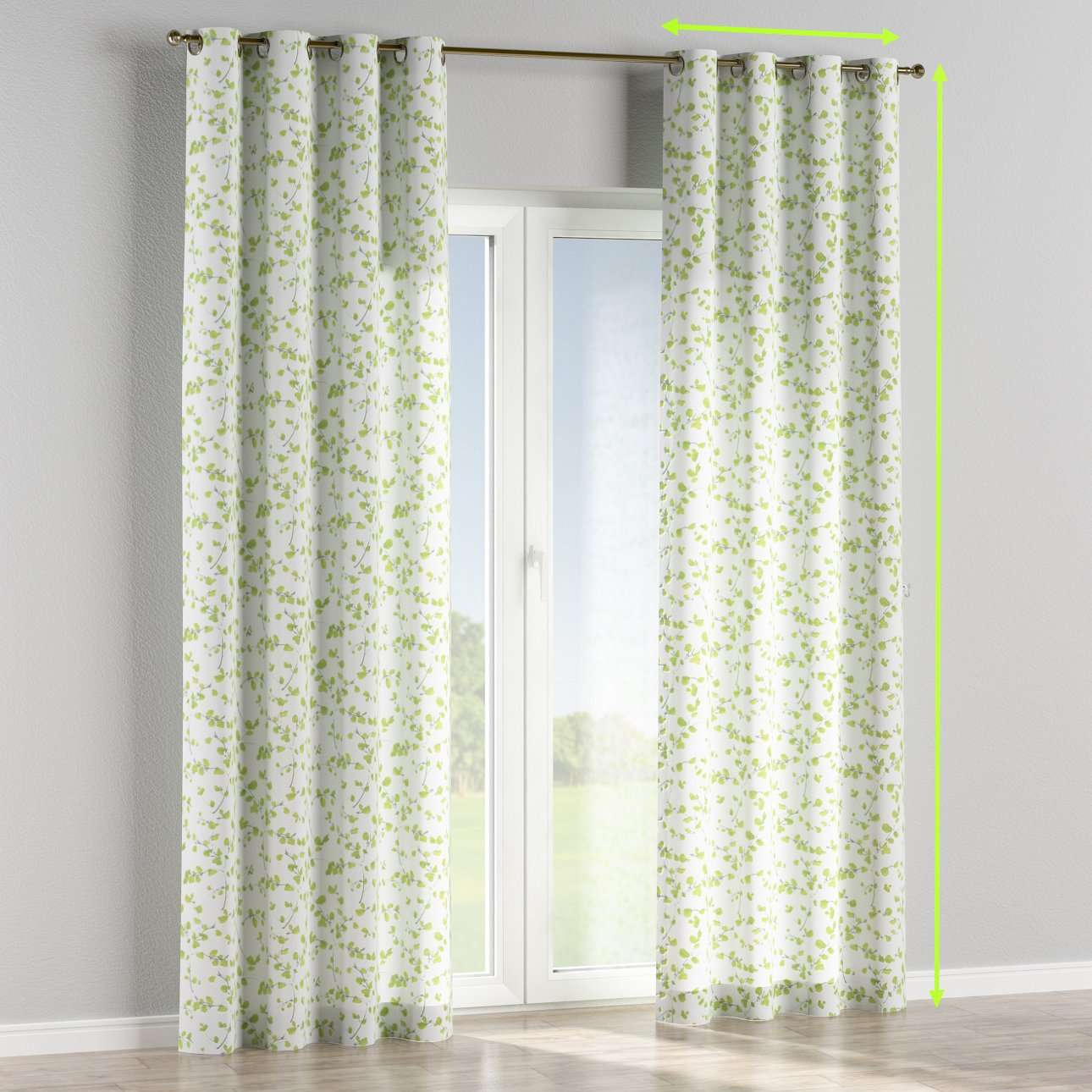Eyelet lined curtains in collection Aquarelle, fabric: 140-76