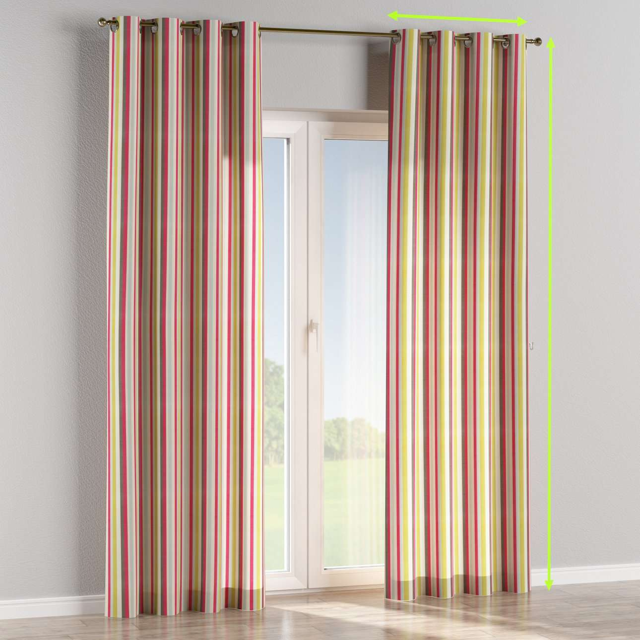 Eyelet lined curtains in collection Norge, fabric: 140-81