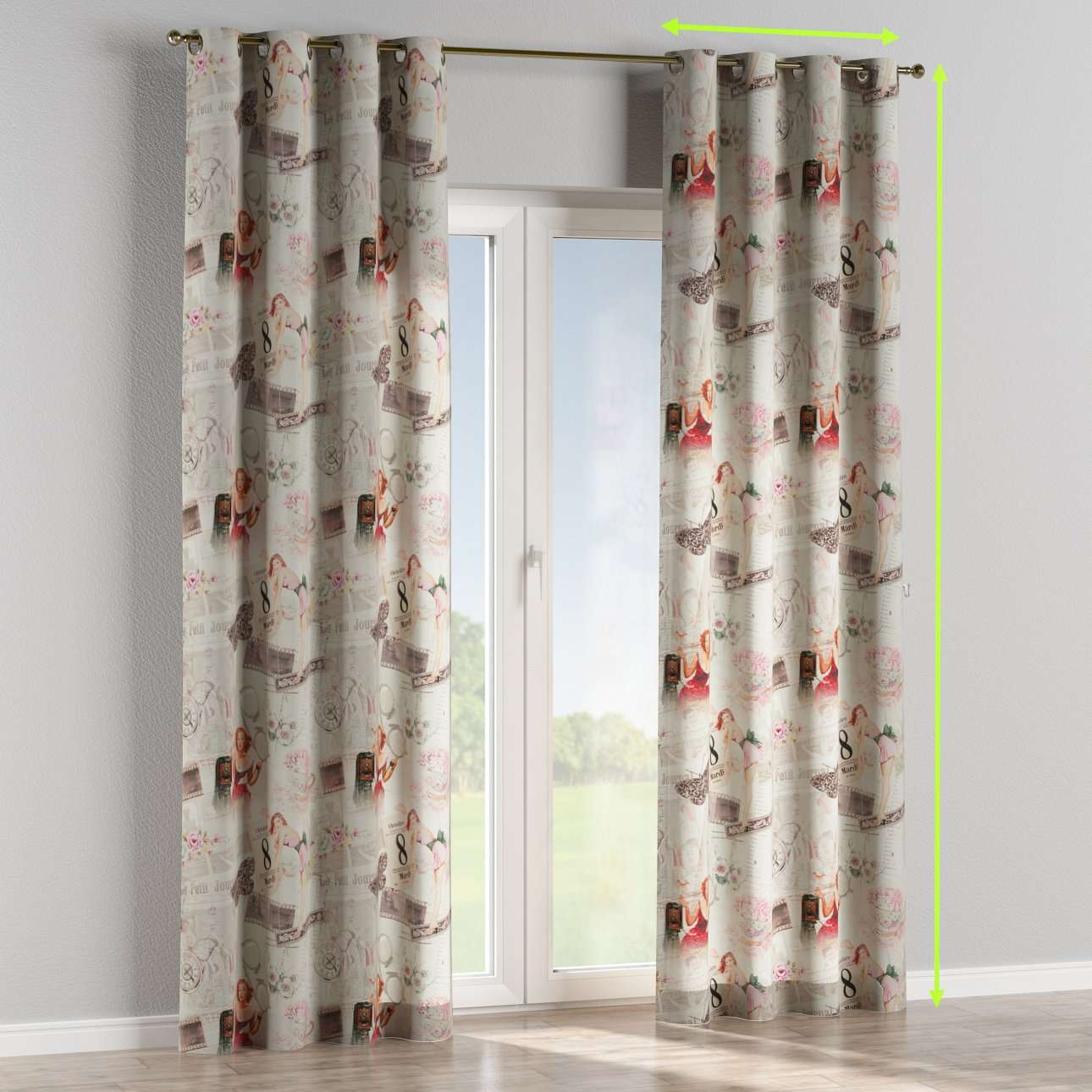 Eyelet lined curtains in collection Freestyle, fabric: 140-99