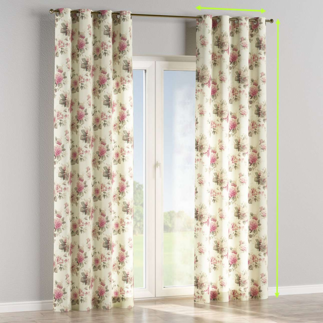 Eyelet lined curtains in collection Mirella, fabric: 141-07