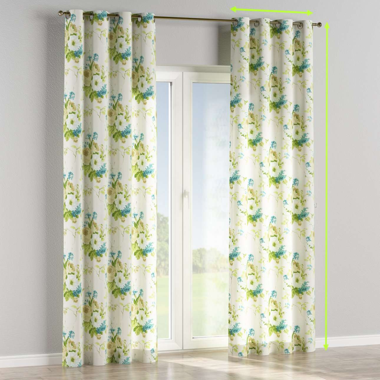 Eyelet lined curtains in collection Mirella, fabric: 141-15