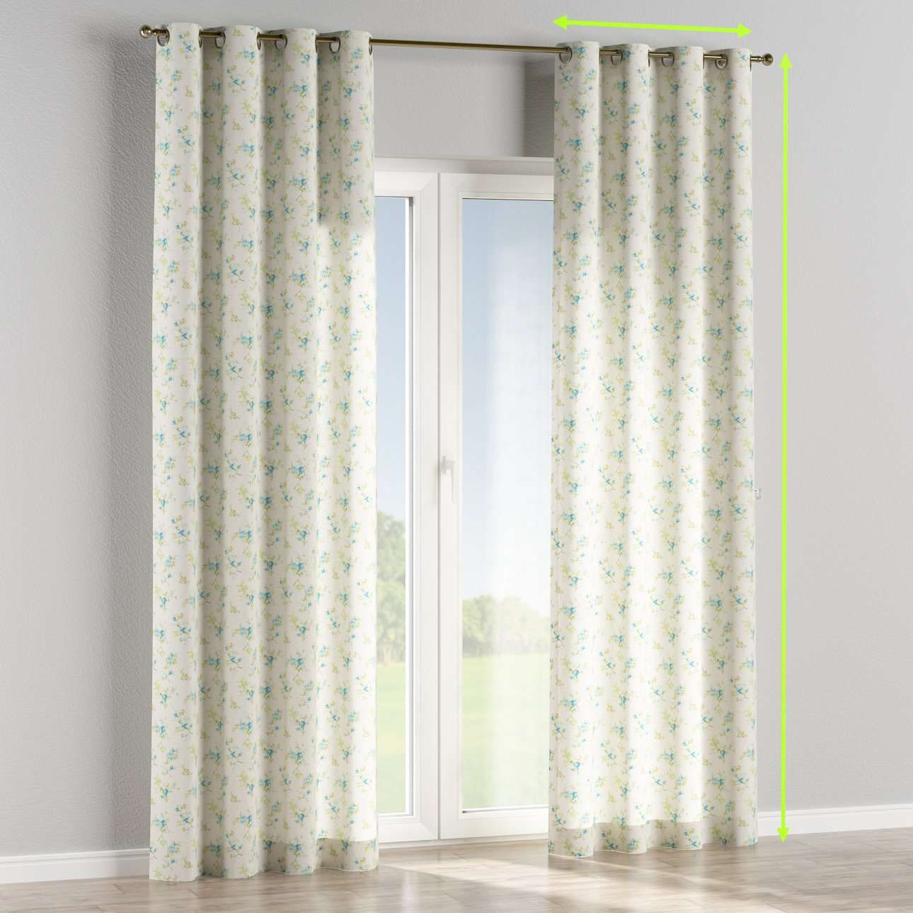 Eyelet lined curtains in collection Mirella, fabric: 141-16
