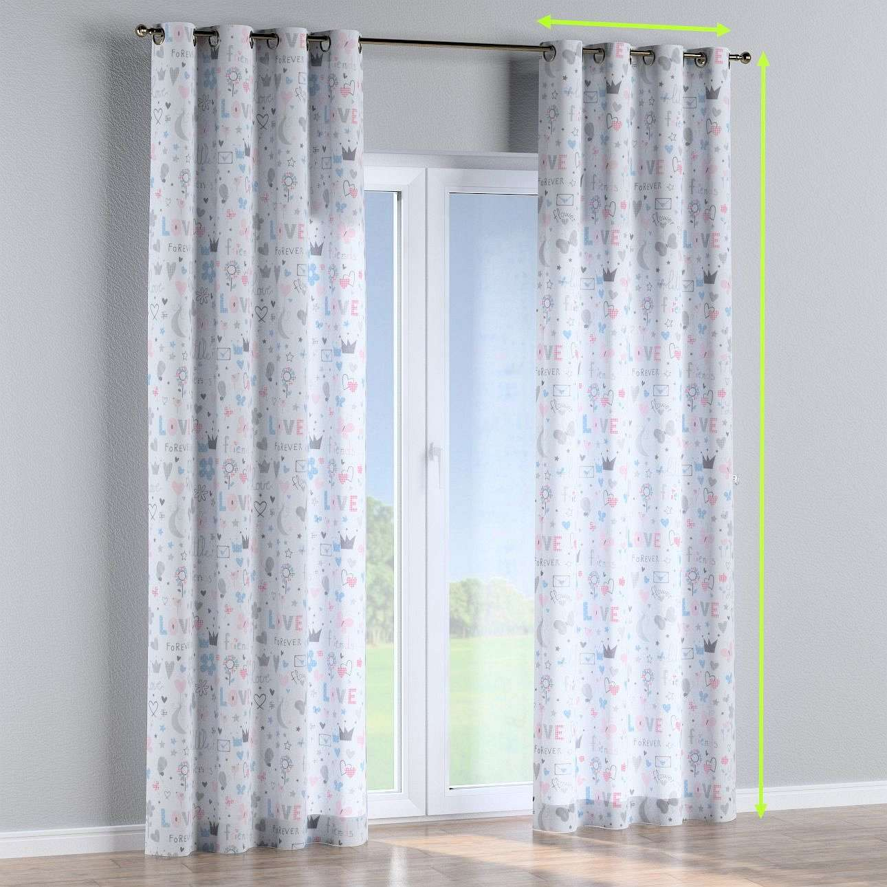 Eyelet lined curtains in collection Little World, fabric: 141-27