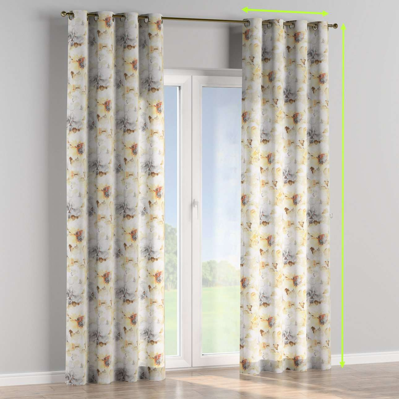 Eyelet lined curtains in collection Acapulco, fabric: 141-33