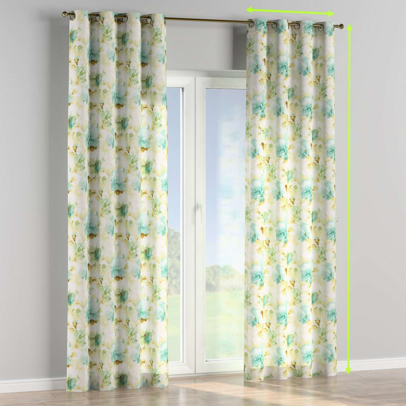 Eyelet lined curtains in collection Acapulco, fabric: 141-35