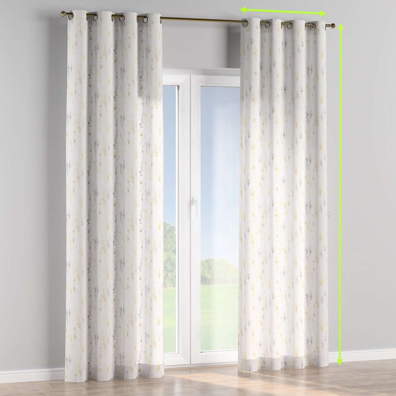Eyelet lined curtains in collection Acapulco, fabric: 141-36