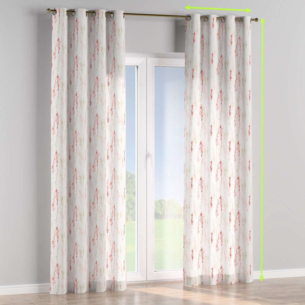 Eyelet lined curtains in collection Acapulco, fabric: 141-37