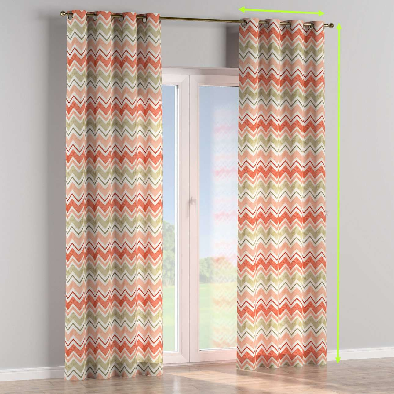 Eyelet lined curtains in collection Acapulco, fabric: 141-40