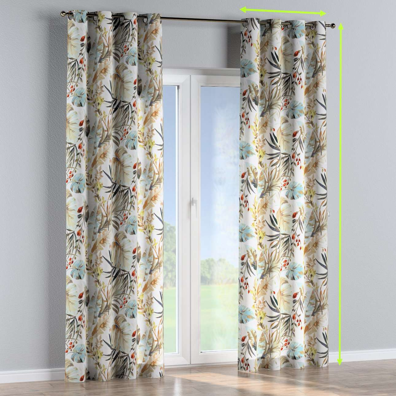 Eyelet lined curtains in collection Urban Jungle, fabric: 141-42