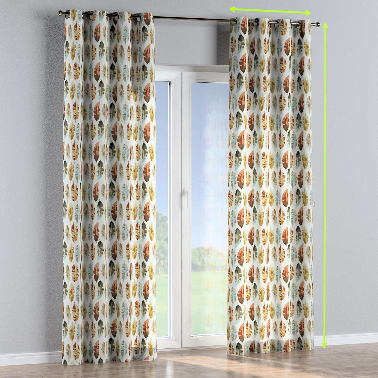 Eyelet lined curtains in collection Urban Jungle, fabric: 141-43