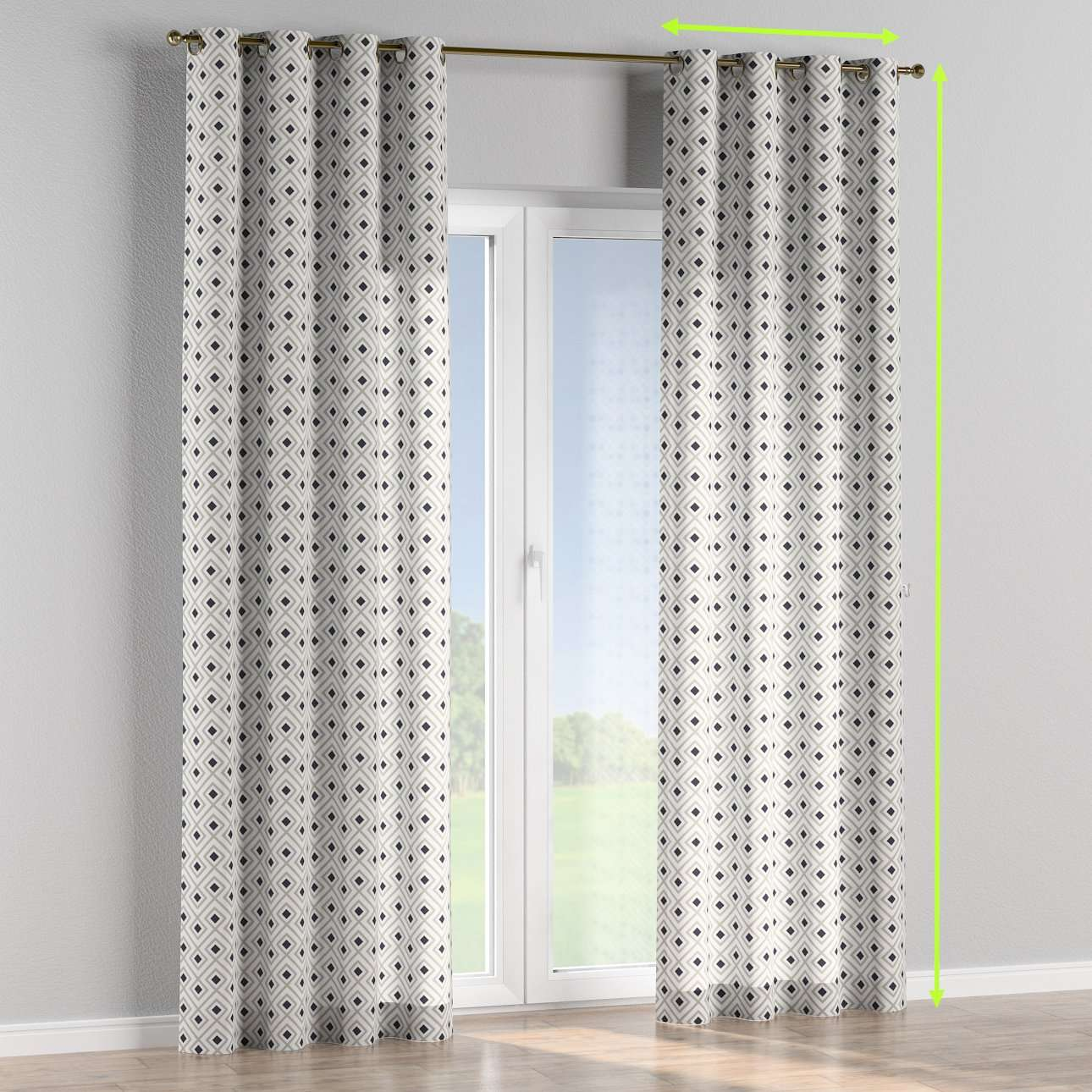 Eyelet lined curtains in collection Geometric, fabric: 141-44