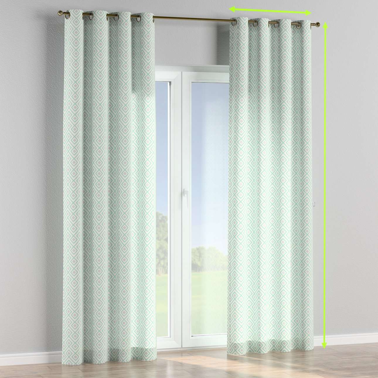Eyelet lined curtains in collection Geometric, fabric: 141-45