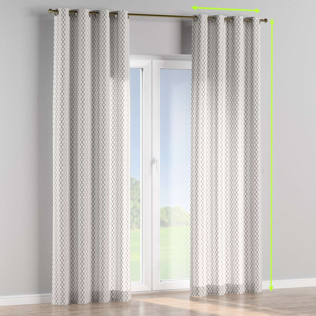 Eyelet lined curtains in collection Geometric, fabric: 141-46