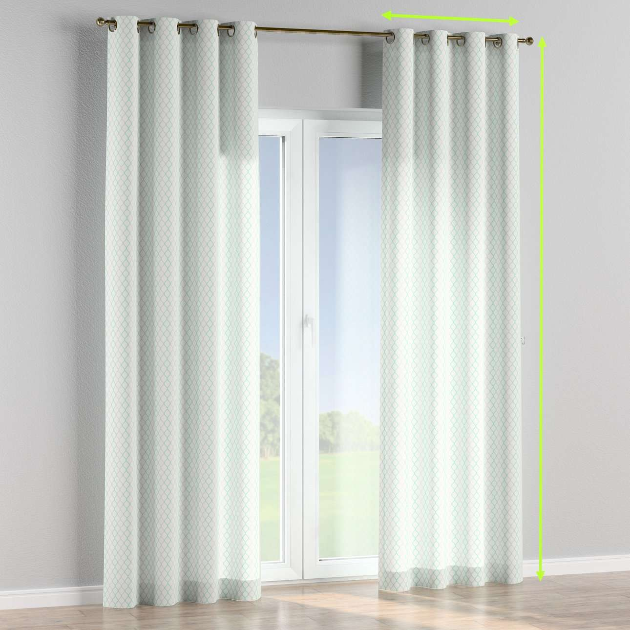 Eyelet lined curtains in collection Geometric, fabric: 141-47