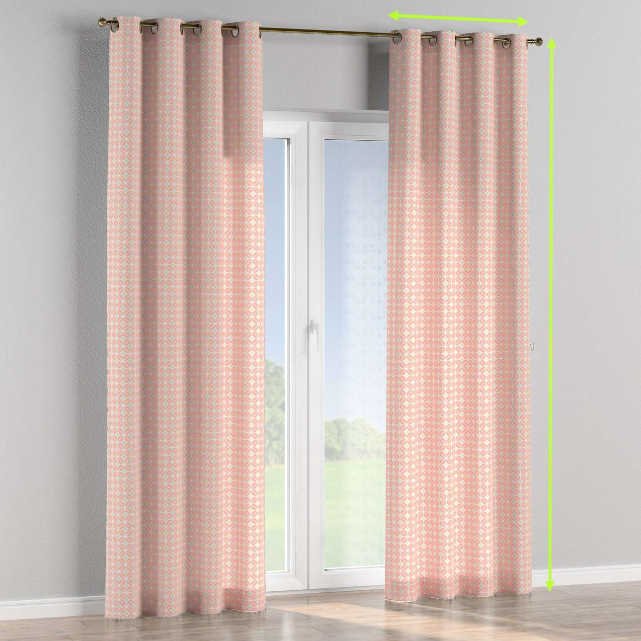 Eyelet lined curtains in collection Geometric, fabric: 141-48