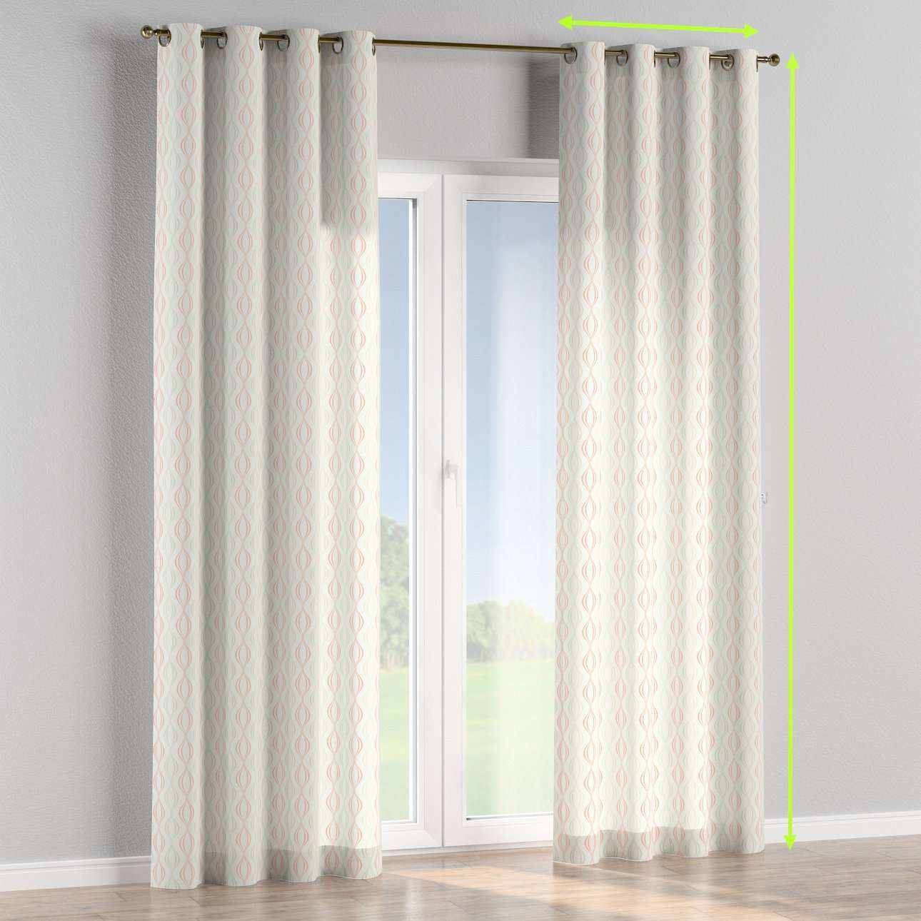 Eyelet lined curtains in collection Geometric, fabric: 141-49