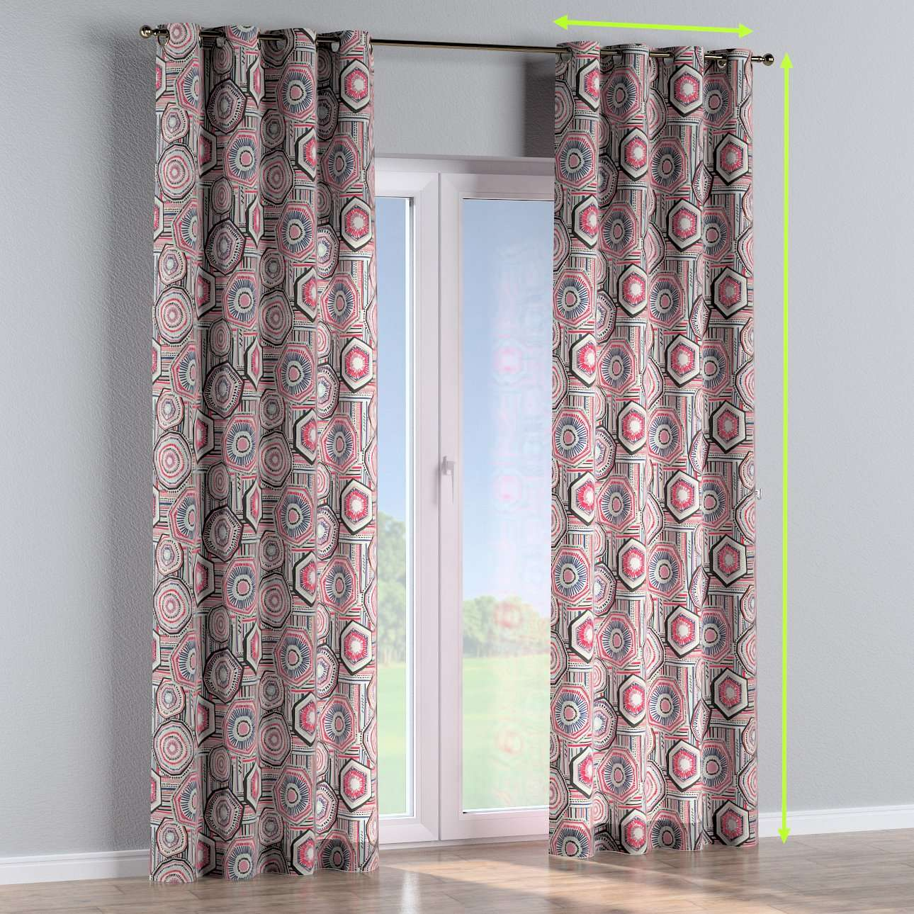 Eyelet lined curtains in collection New Art, fabric: 141-54