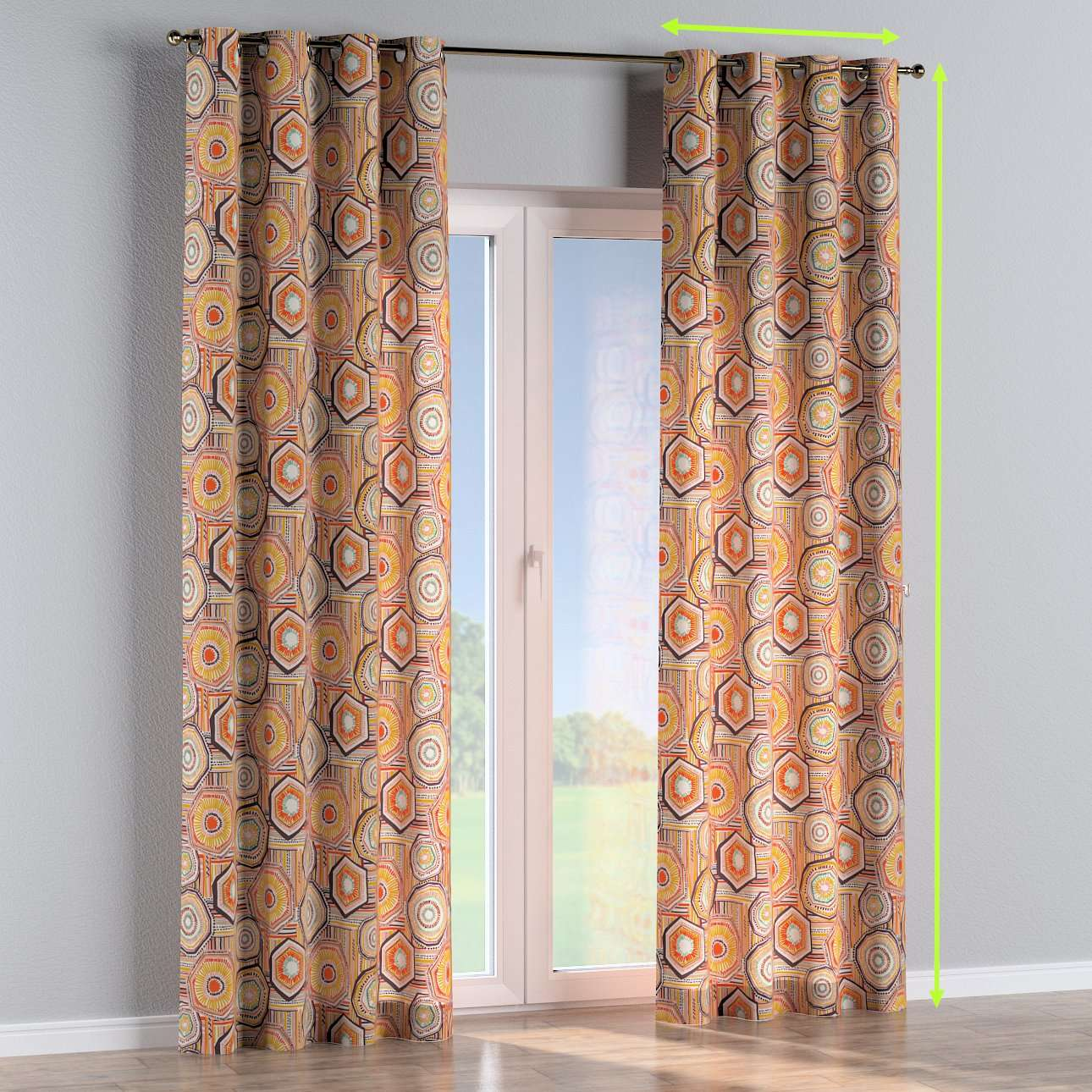 Eyelet lined curtains in collection New Art, fabric: 141-55
