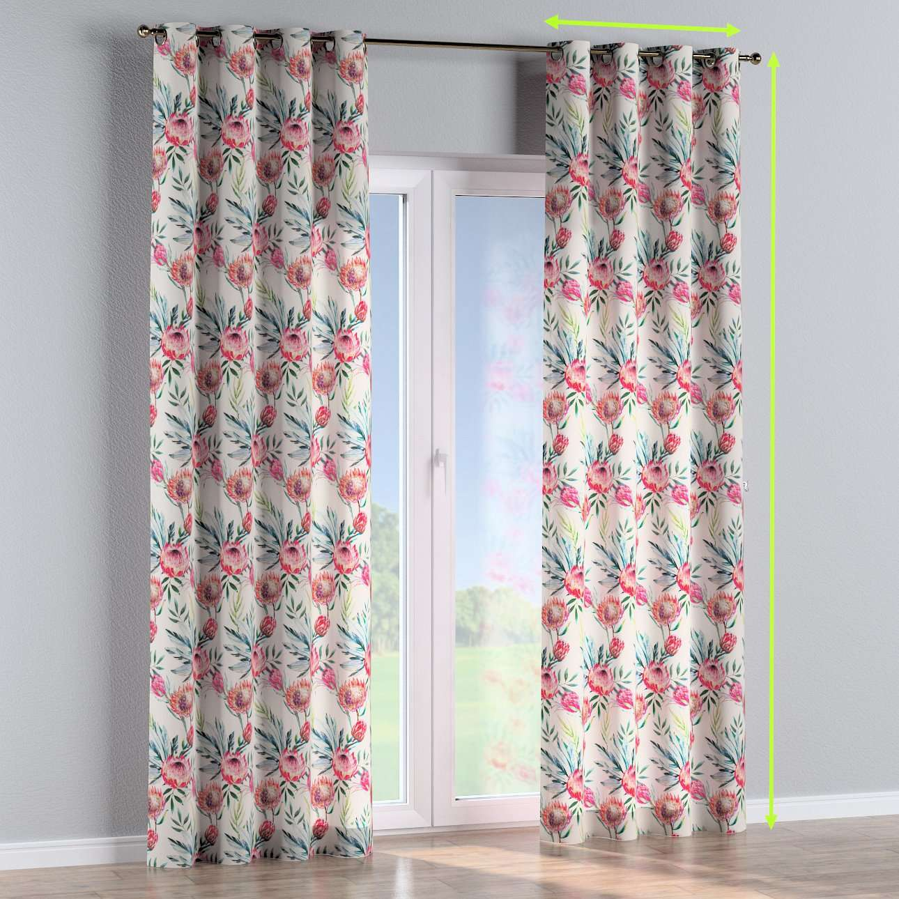 Eyelet lined curtains in collection New Art, fabric: 141-59