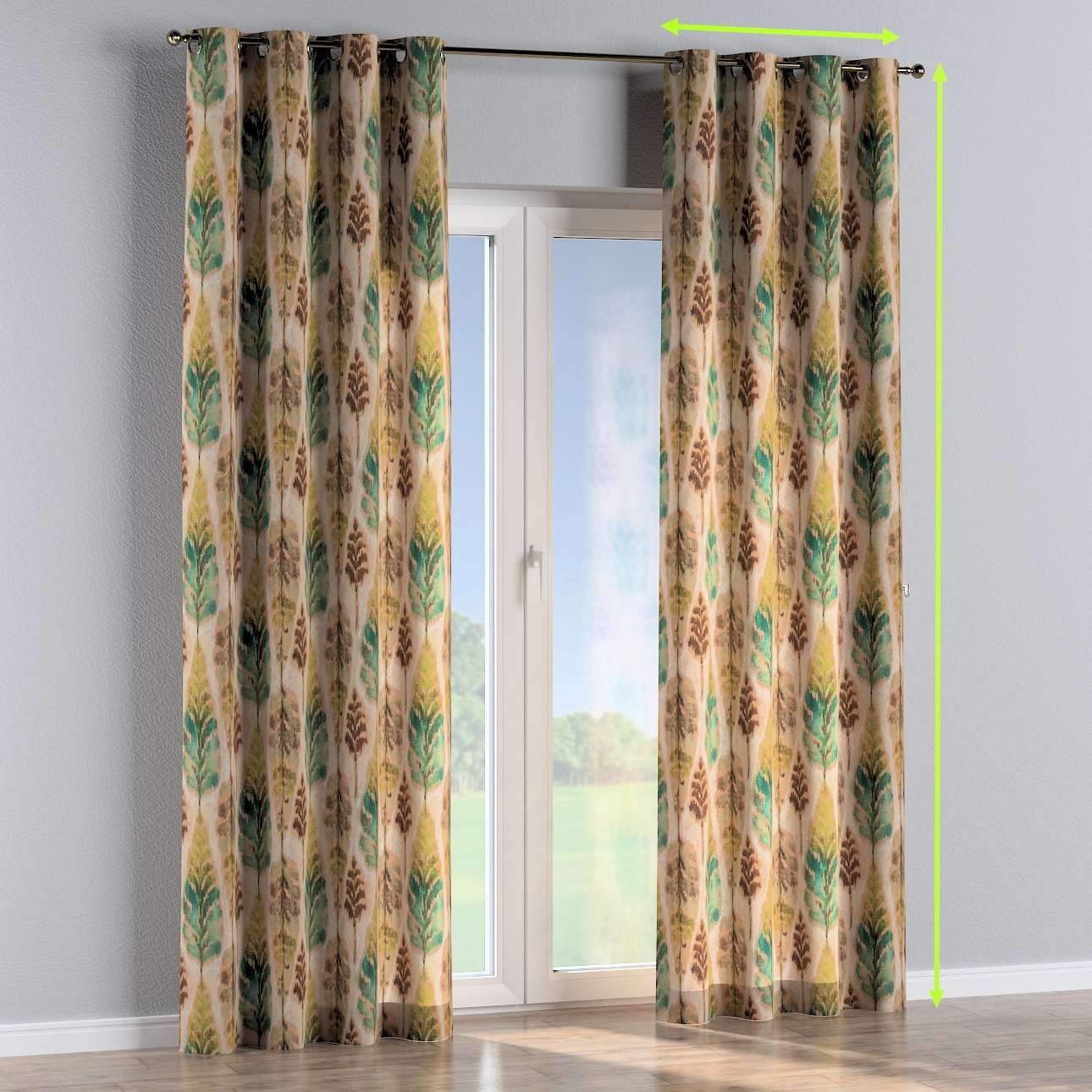 Eyelet lined curtains in collection Urban Jungle, fabric: 141-60