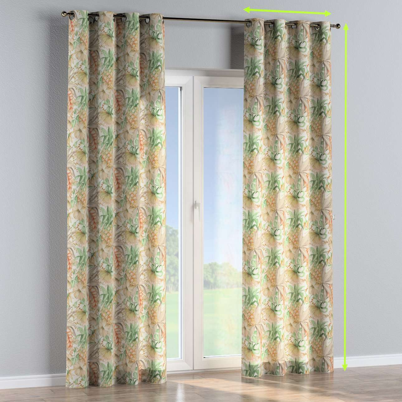 Eyelet lined curtains in collection Urban Jungle, fabric: 141-61