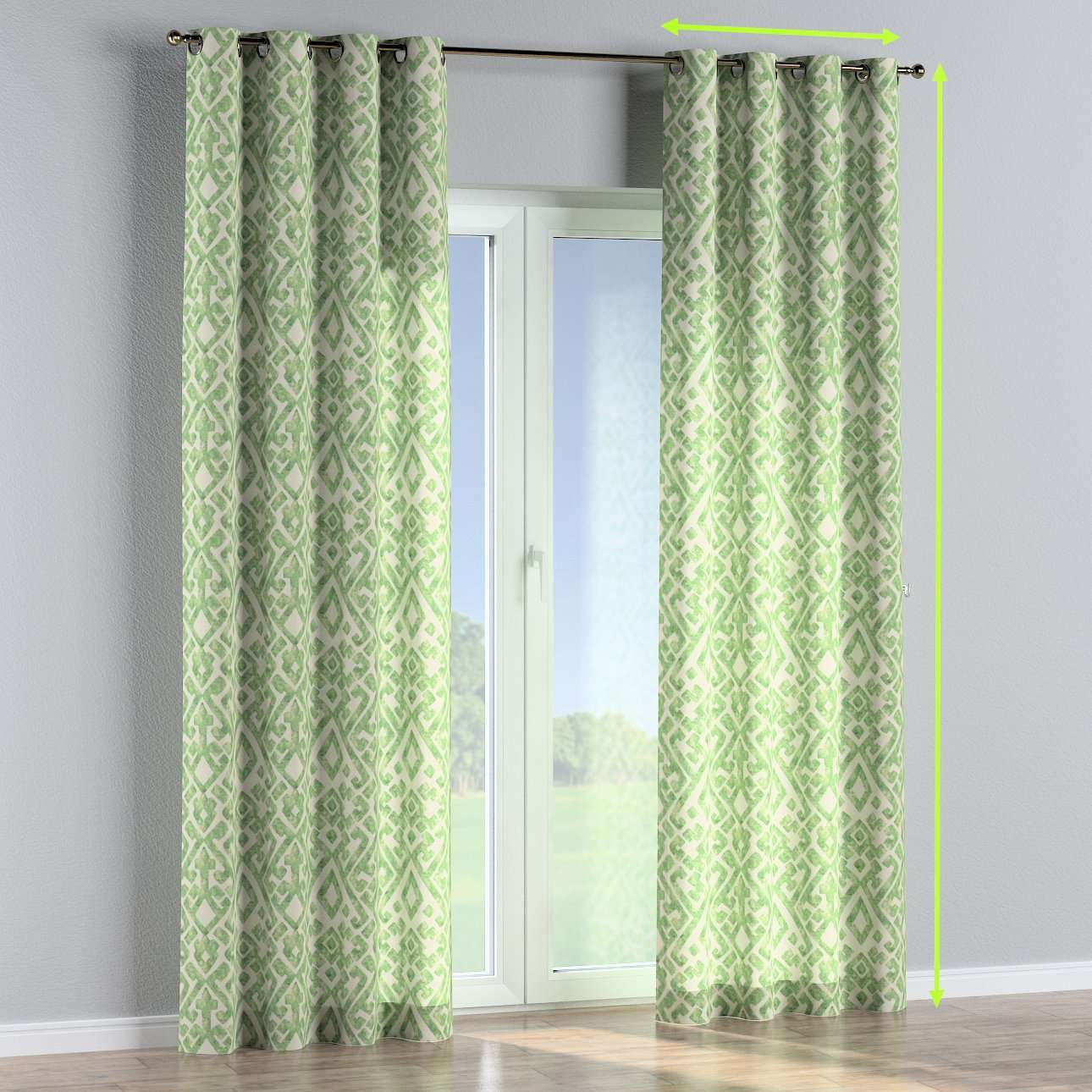 Eyelet lined curtains in collection Urban Jungle, fabric: 141-62