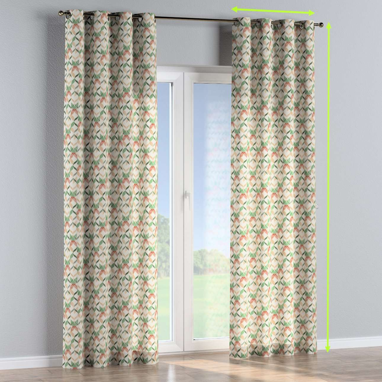 Eyelet lined curtains in collection Urban Jungle, fabric: 141-64