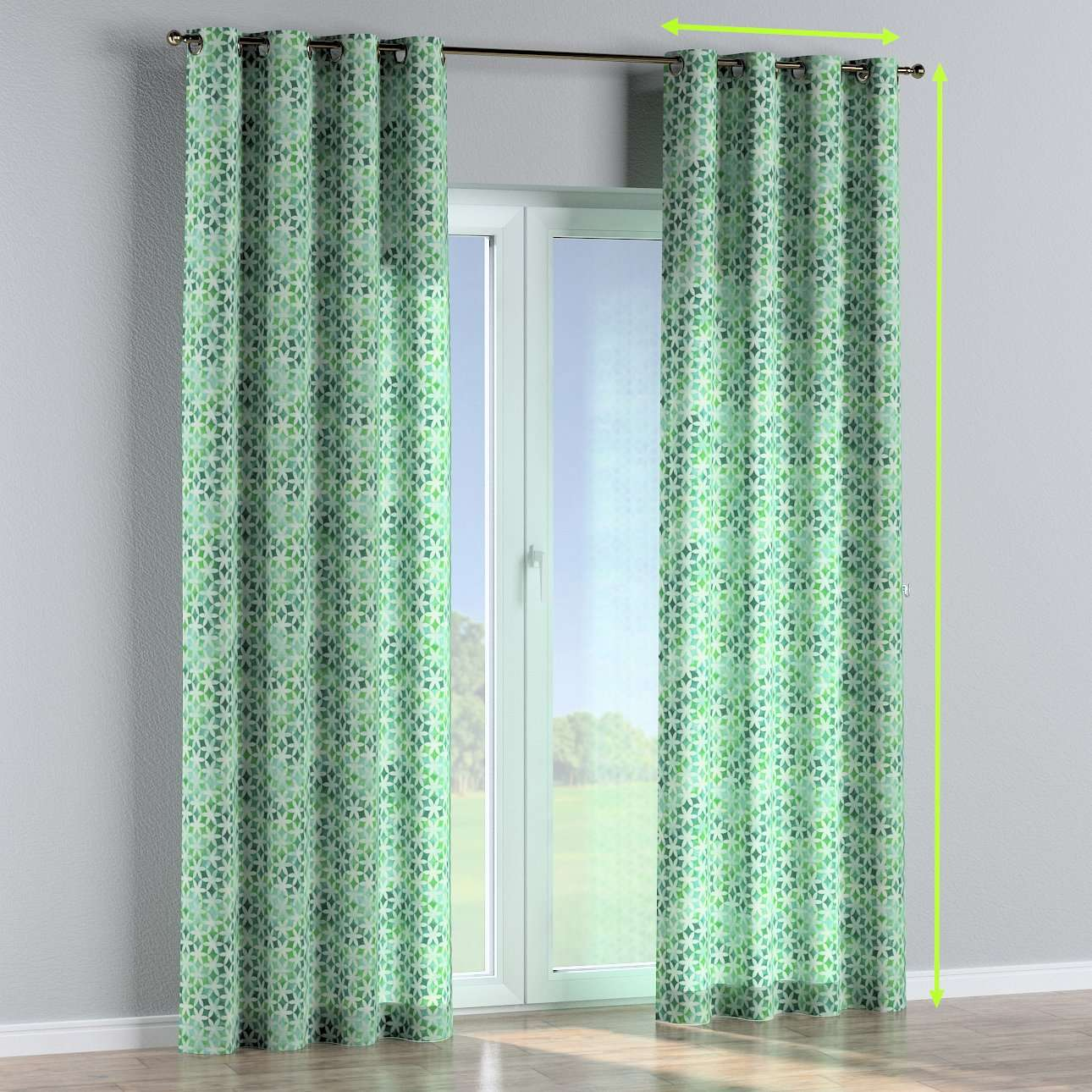 Eyelet lined curtains in collection Urban Jungle, fabric: 141-65