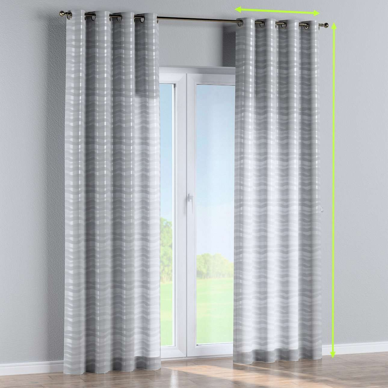 Eyelet lined curtains in collection Damasco, fabric: 141-72