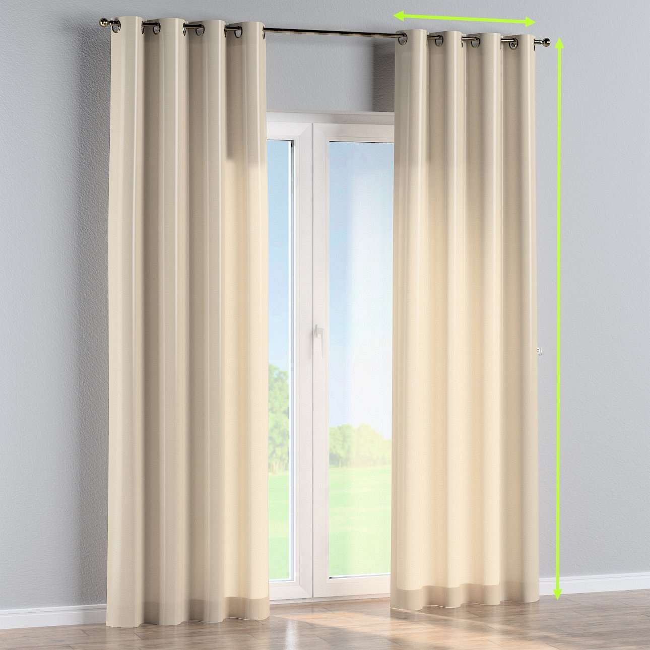 Eyelet lined curtains in collection Damasco, fabric: 141-73
