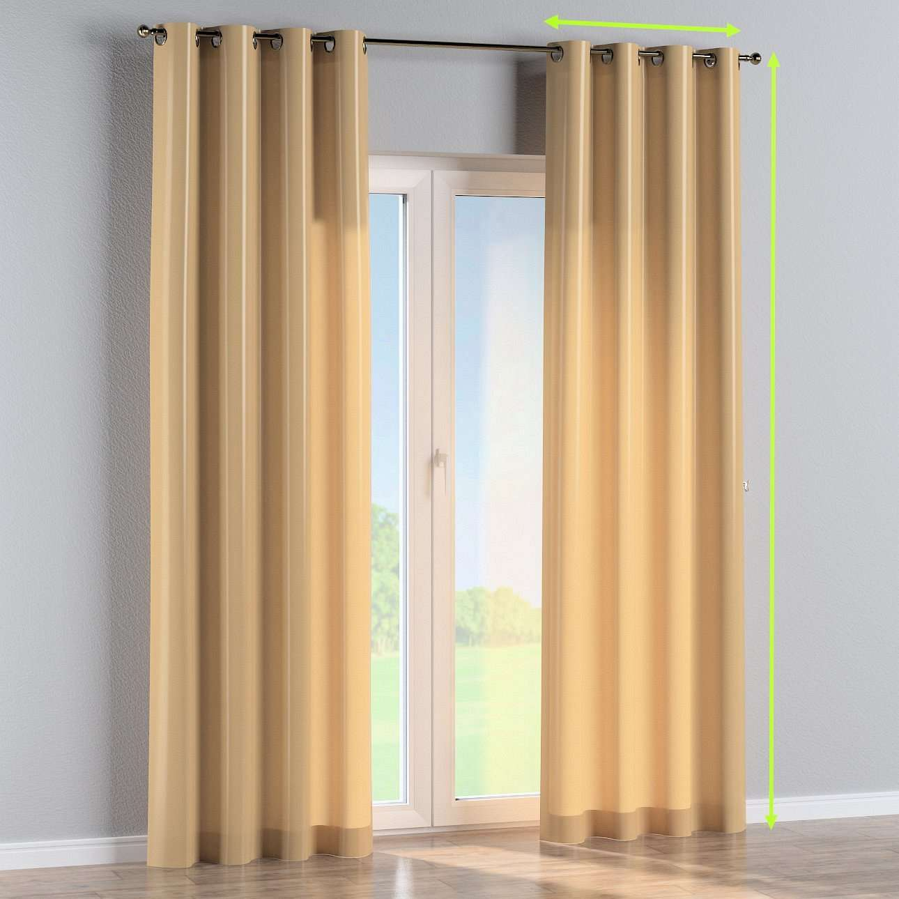 Eyelet lined curtains in collection Damasco, fabric: 141-75