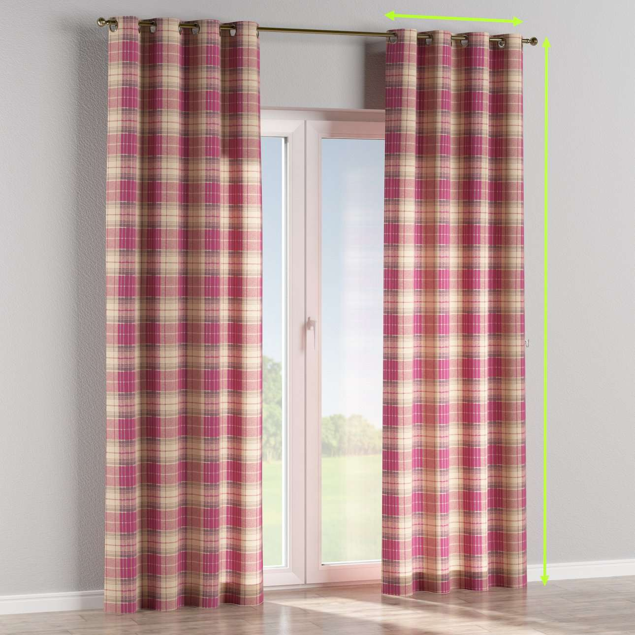 Eyelet lined curtains in collection Mirella, fabric: 142-07