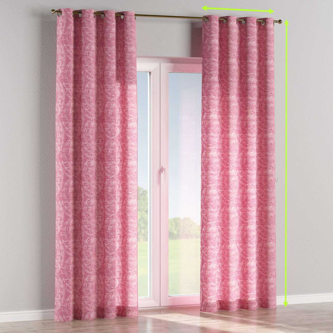 Eyelet lined curtains in collection Mirella, fabric: 143-07