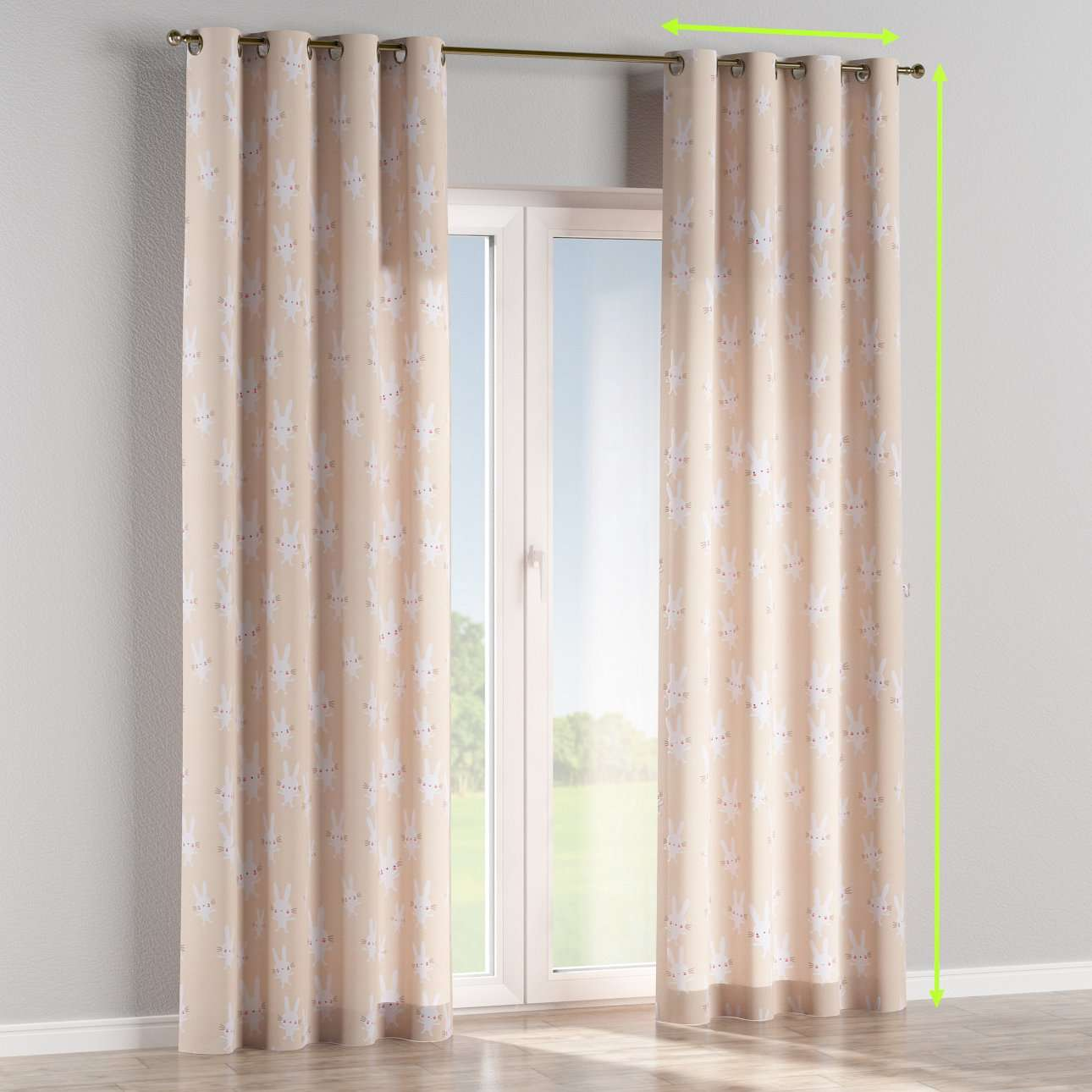 Eyelet lined curtains in collection Apanona, fabric: 151-00