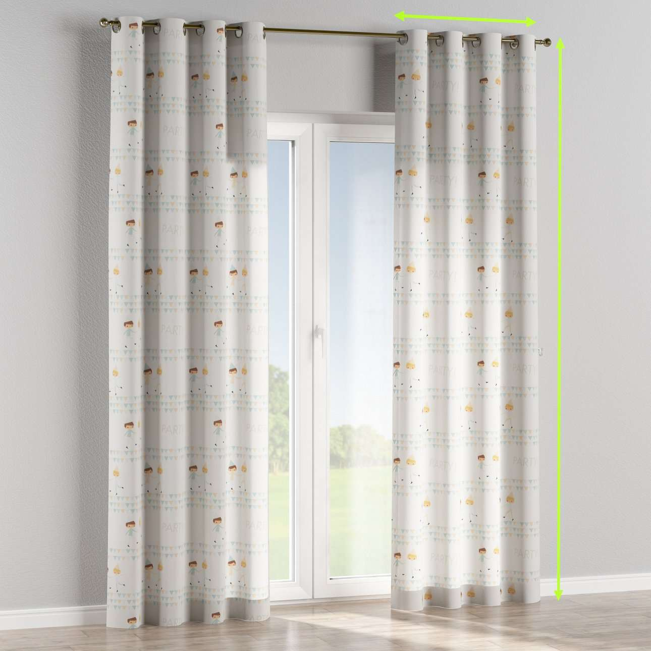 Eyelet lined curtains in collection Apanona, fabric: 151-01