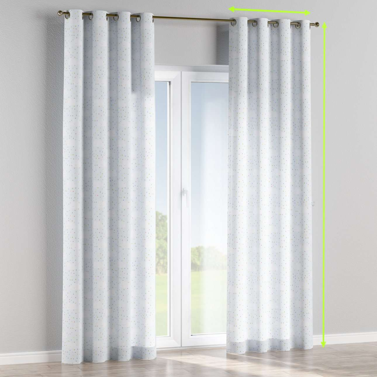 Eyelet lined curtains in collection Apanona, fabric: 151-03