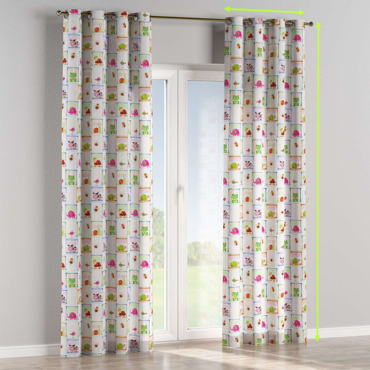 Eyelet lined curtains in collection Apanona, fabric: 151-04