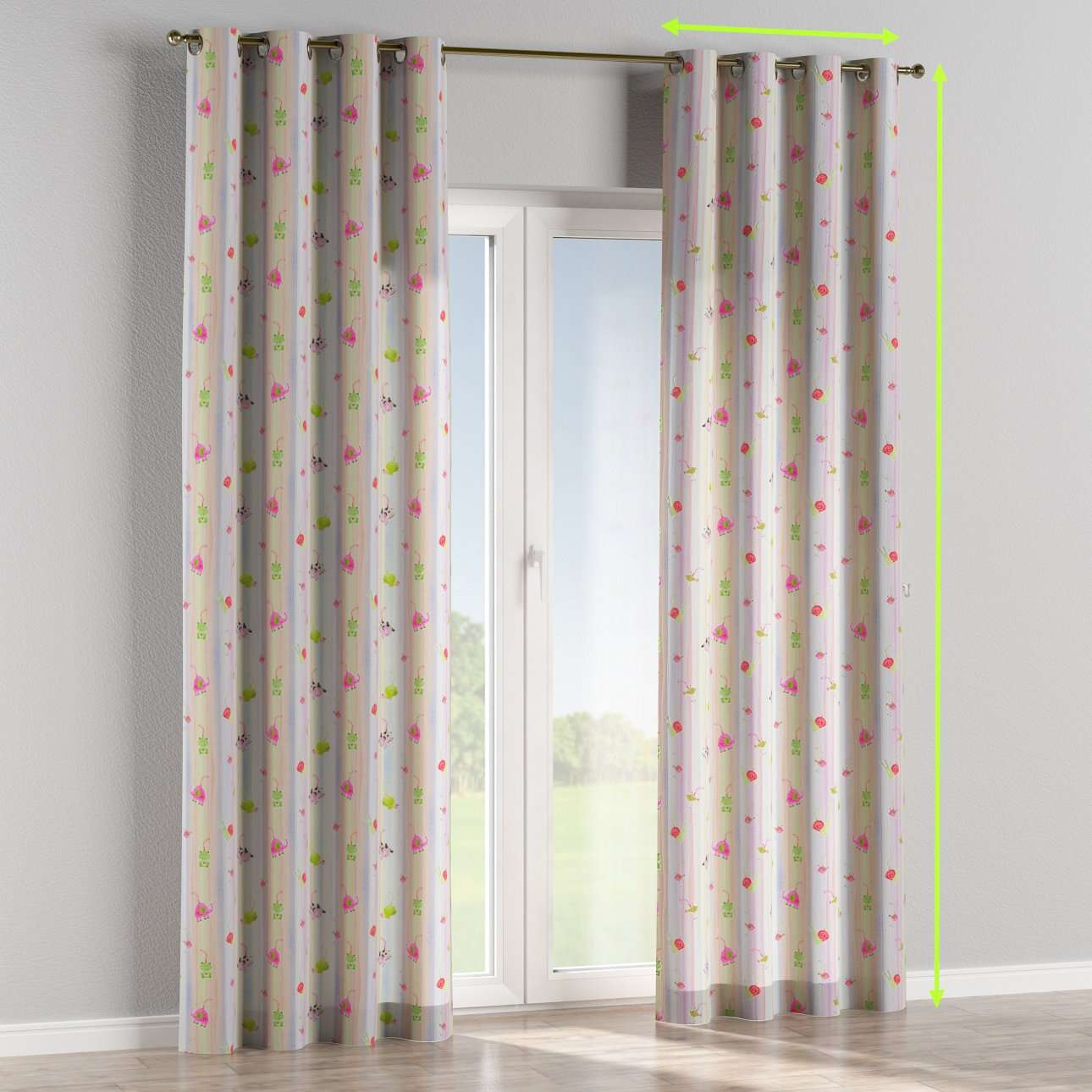 Eyelet lined curtains in collection Apanona, fabric: 151-05