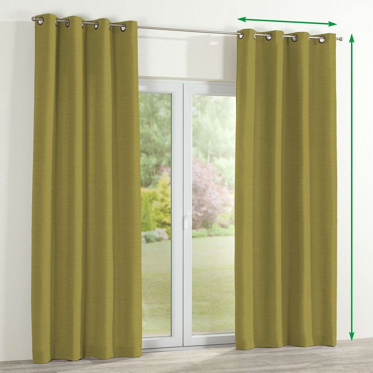 Eyelet lined curtains in collection Chenille, fabric: 160-47