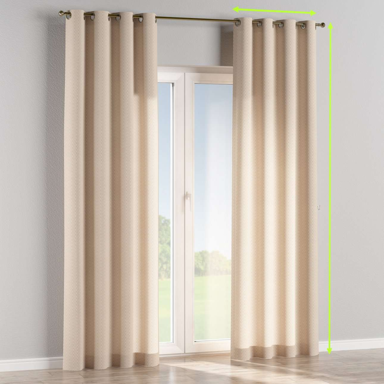 Eyelet lined curtains in collection Brooklyn, fabric: 137-91