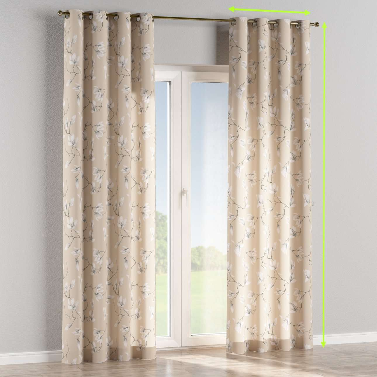 Eyelet lined curtains in collection Flowers, fabric: 311-12