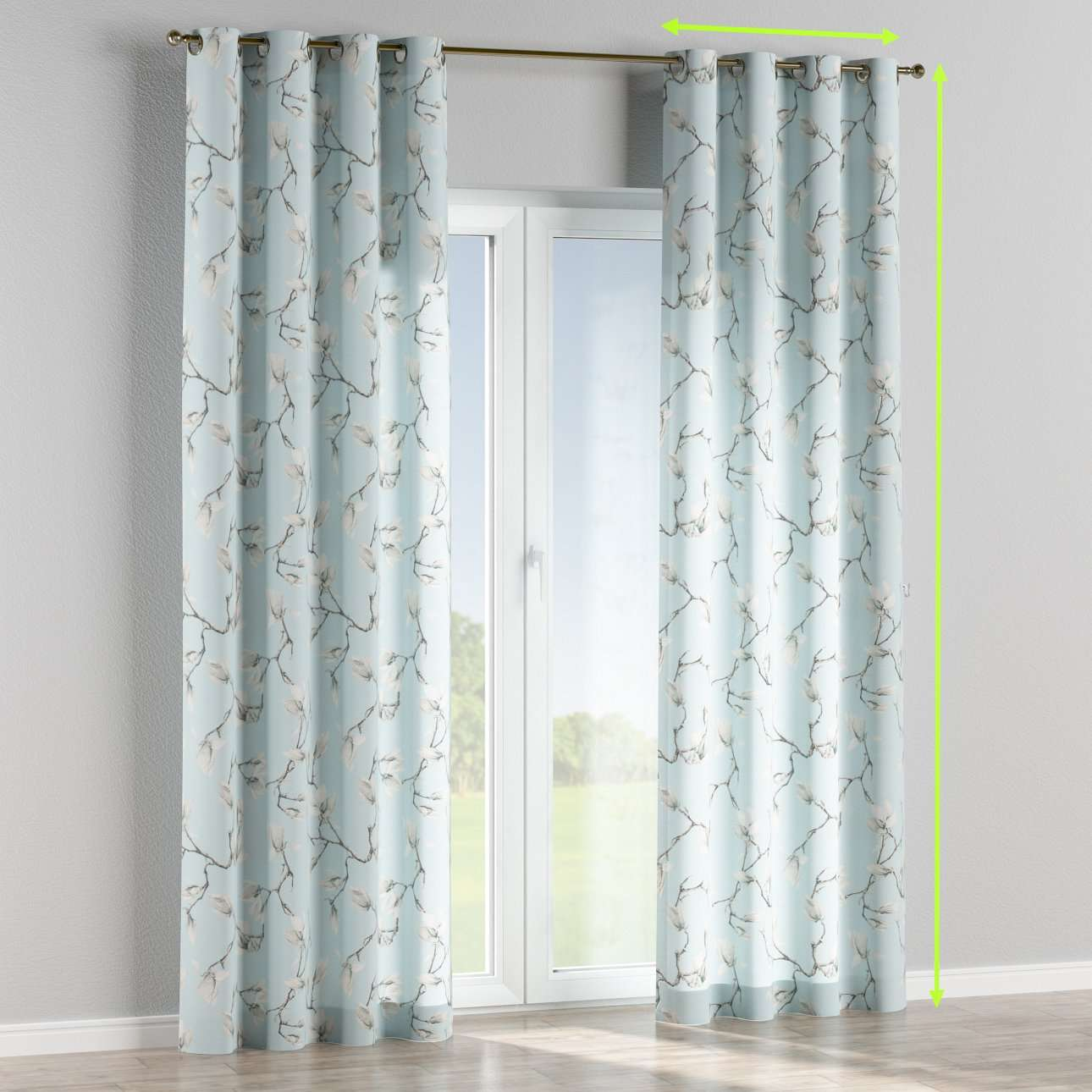 Eyelet lined curtains in collection Flowers, fabric: 311-14