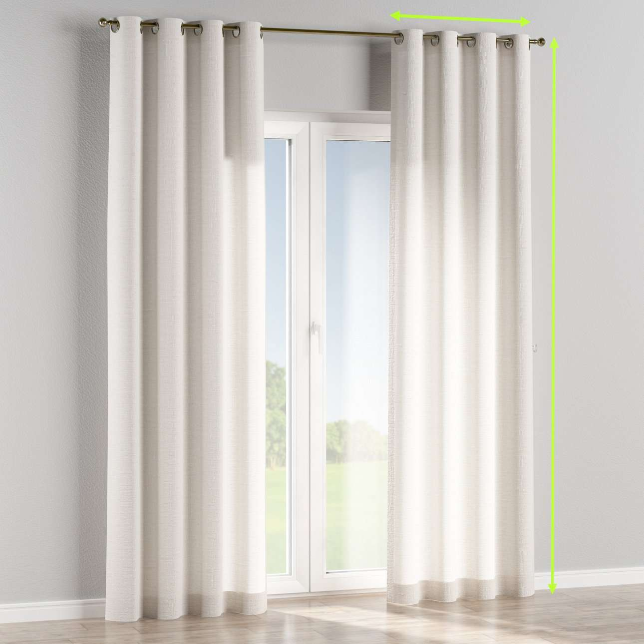 Eyelet lined curtains in collection Linen, fabric: 392-04