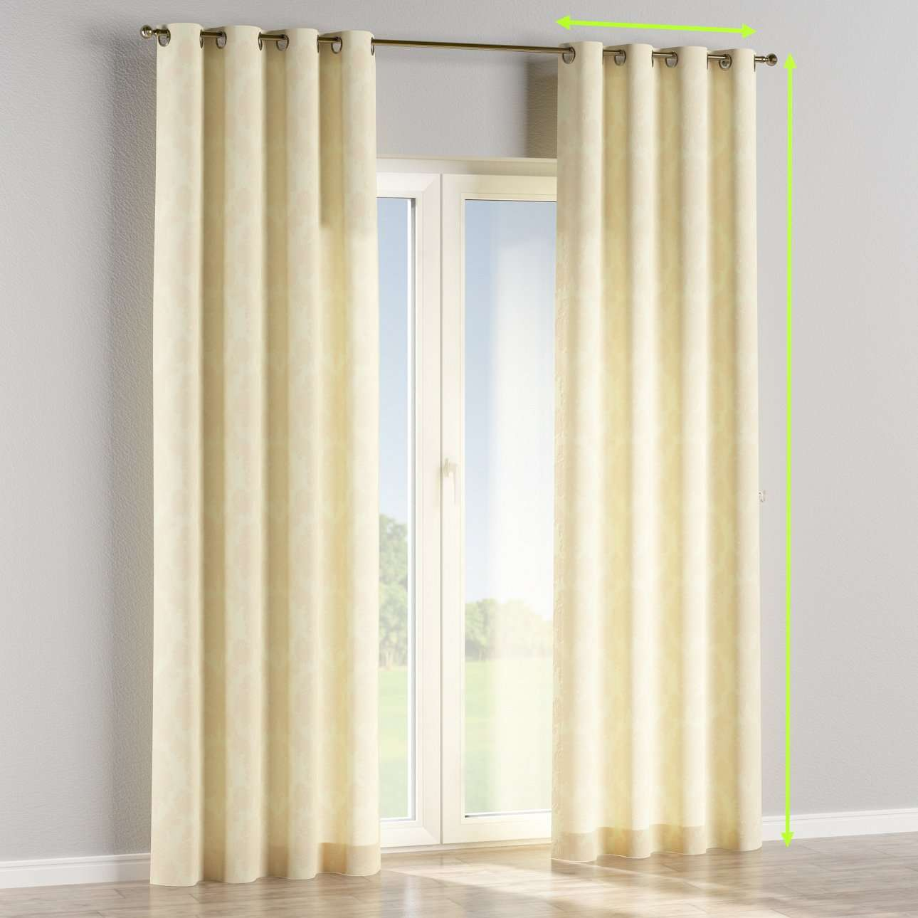Eyelet lined curtains in collection Damasco, fabric: 613-01
