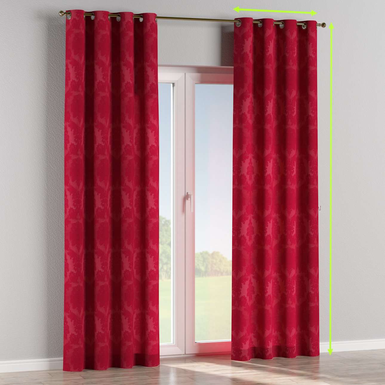 Eyelet lined curtains in collection Damasco, fabric: 613-13