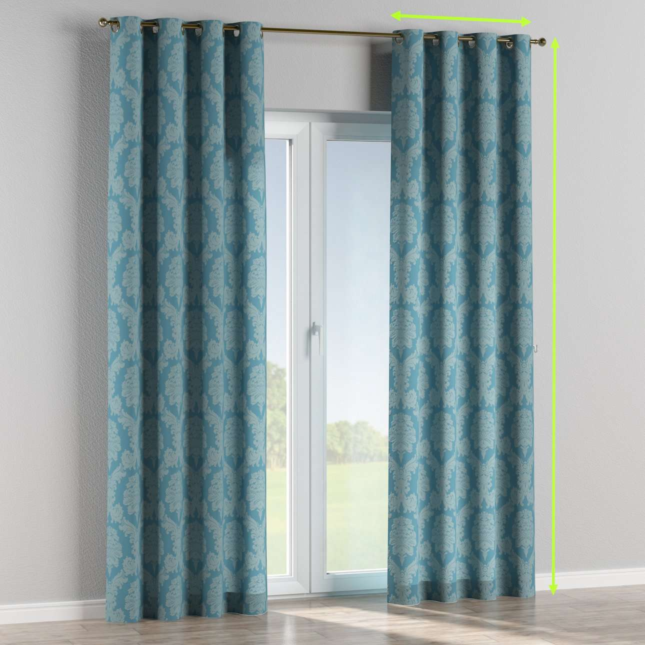 Eyelet lined curtains in collection Damasco, fabric: 613-67