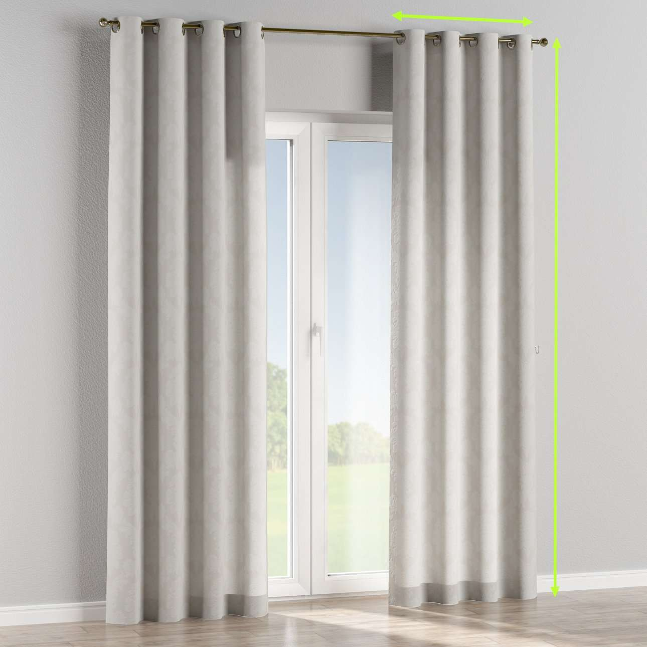 Eyelet lined curtains in collection Damasco, fabric: 613-81