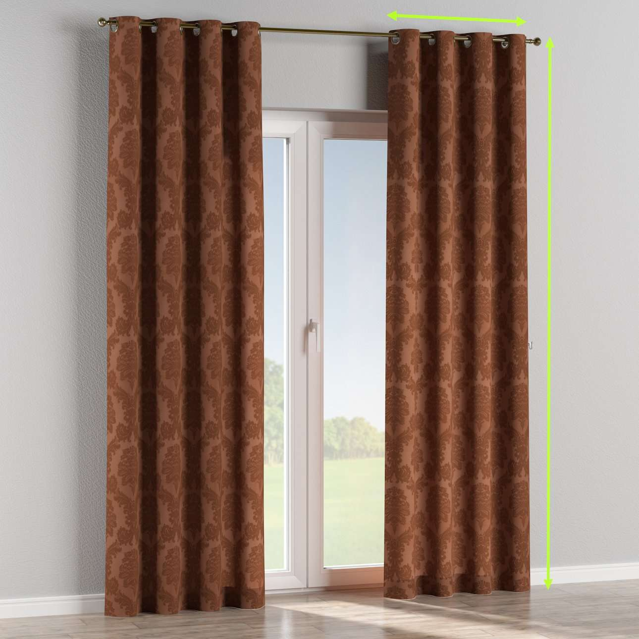 Eyelet lined curtains in collection Damasco, fabric: 613-88