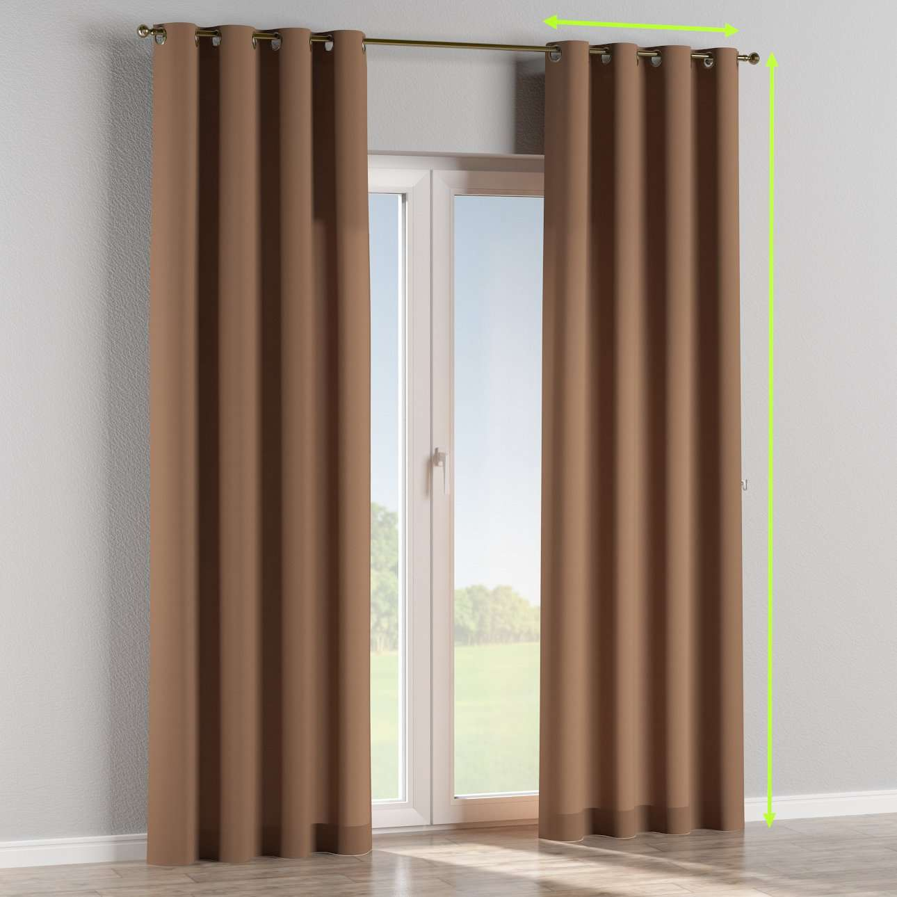 Eyelet lined curtains in collection Cotton Panama, fabric: 702-02
