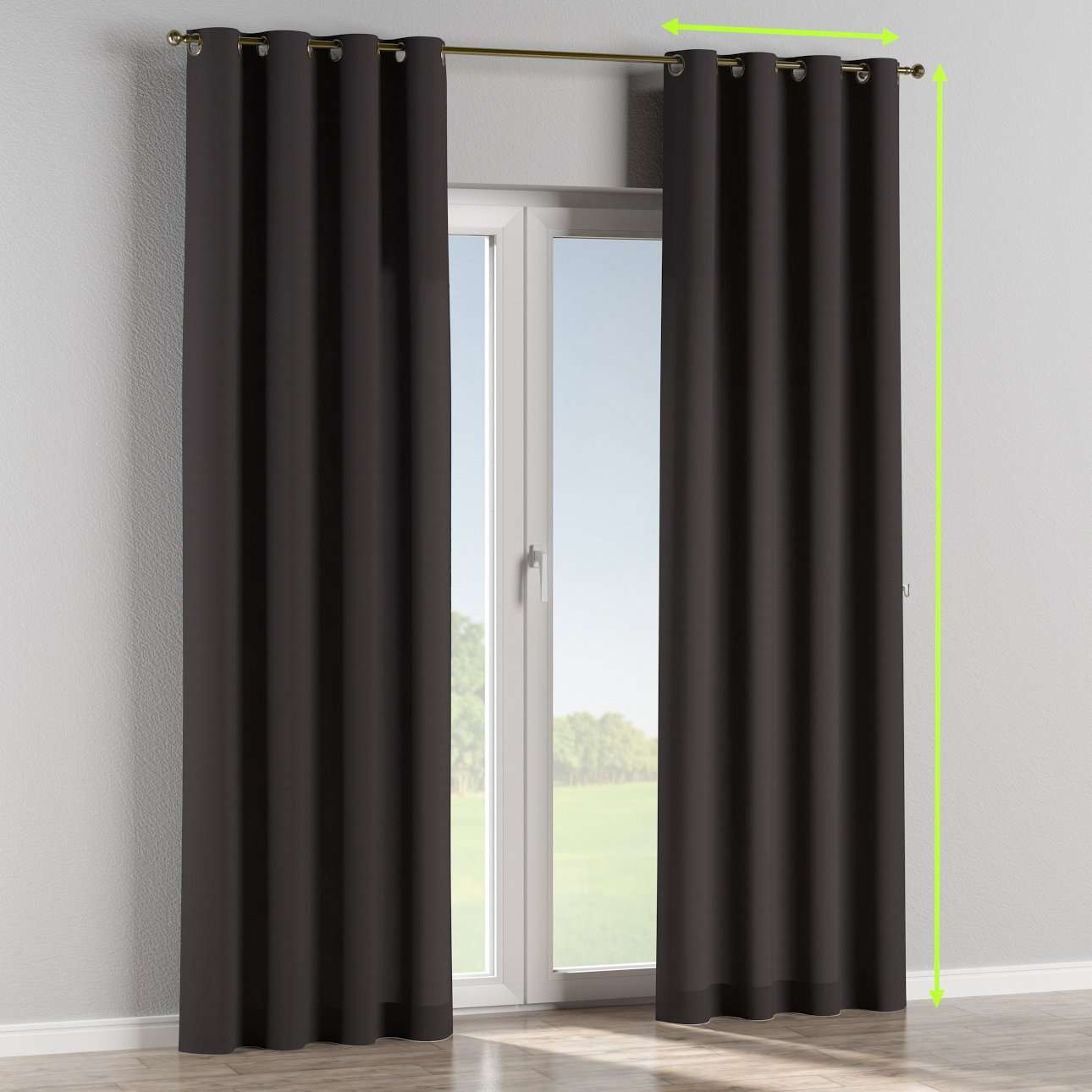 Eyelet lined curtains in collection Cotton Panama, fabric: 702-09